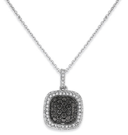 KC Designs Black and White Diamond Small Cushion Necklace in 14k White Gold with 103 Diamonds