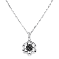 KC Designs Black And White Diamond Flower Necklace in 14k White Gold with 36 Diamonds