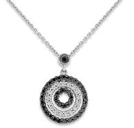 KC Designs Black and White Diamond Circle Necklace in 14k White Gold with 52 Diamonds