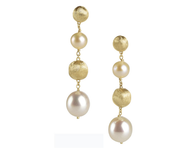 Marco Bicego Africa Pearl Medium Drop Earrings in 18kt Gold with Mixed Pearls