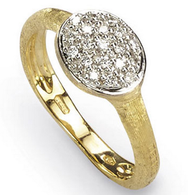 Marco Bicego 18K Yellow Gold Siviglia Drop Ring with Pave Diamonds