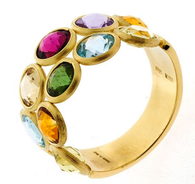 Marco Bicego 18kt Yellow Gold Ring with Two Rows of Faceted Round Multi Color Gemstones