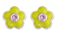 Aaron Basha White Gold Lime Green Flower Earrings