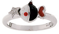 Aaron Basha White Gold Fish with Star Accent Ring