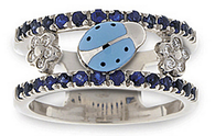 Aaron Basha White Gold Blue Sapphire Double Decker Ring