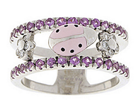 Aaron Basha White Gold Pink Sapphire Double Decker Ring