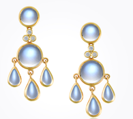Temple St. Clair 18K Fringe Earrings with Royal Blue Moonstone and Diamond