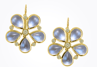 Temple St. Clair 18K Flower Earrings with Royal Blue Moonstone and Diamond