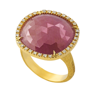 Marco Bicego Jaipur Sunset Ring in 18kt Gold with Diamonds and Sapphire