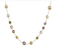 "Marco Bicego 17"" Mini Jaipur Necklace in 18kt Gold with Mixed Semi Precious Stones"