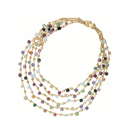 Marco Bicego Paradise Five Strand Necklace in 18kt Gold with Mixed Semi Precious Colored Stones