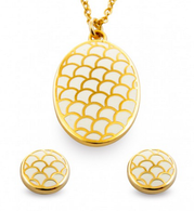 HALCYON DAYS SALAMANDER CREAM PENDANT & EARRINGS SET