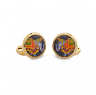HALCYON DAYS CEREMONIAL INDIAN ELEPHANT ROUND CUFFLINKS