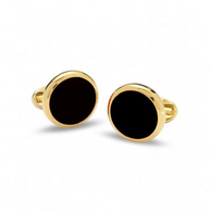 HALCYON DAYS BLACK & GOLD ROUND CUFFLINKS