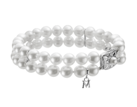 Mikimoto 18K White Gold Double Strand Pearl Bracelet