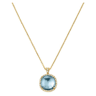 "Marco Bicego Jaipur Sunset 16"" Pendant in 18kt Gold with Blue Topaz and Pave Diamonds"