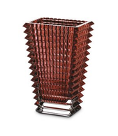 BACCARAT EYE VASE RECTANGULAR RED