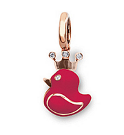 Aaron Basha 18K Rose Gold Fluorescent Pink Rubber Duckie with Crown
