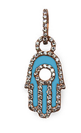 Aaron Basha 18K Rose Gold Enamel and Pave Hamsa