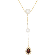 Honora Womens Drop Lariat Pendant Necklace in 14k Gold with White Potato Freshwater Cultured Pearls and 14KY Garnet
