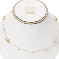 "Honora Womens 14KY 6.5-7mm White Round Freshwater Cultured Pearls Cage Tincup Oval 20"" Necklace"