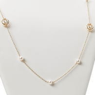 "Honora Womens 14KY 6.5-7mm White Round Freshwater Cultured Pearls Cage Tincup Swirl 32"" Necklace"