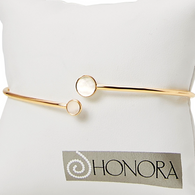 Honora Womens 14KY Gold Fresh Water Cultured Mother of Pearl Slice Circle Cuff