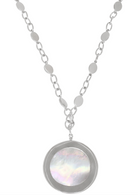 Honora Womens Sterling Silver 24mm White Mother of Pearl Freshwater Cultured Pearl Pendant with Chain