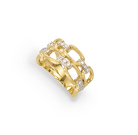 Marco Bicego Murano Ring with 18kt gold and diamonds. Two strands of gold links combine with diamonds to dazzle anyone's finger!