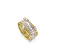 Marco Bicego Five Strand Ring with Diamonds Yellow gold, white gold, and rose gold