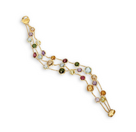 Marco Bicego Jaipur Bracelet with multi-colored stones and three strands of yellow gold