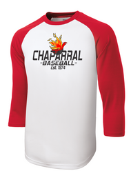RED AND WHITE BASEBALL TEE WITH LOGO