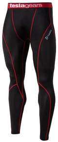 Mens Compression Black Red Long Pants Gym Workout Fitness Tesla