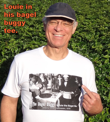 Louie in his Bagel Buggy t-shirt