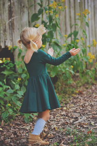 Evergreen Twirl Dress 3/4 SLEEVE