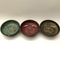 Dipping bowls shown here with turquoise, plum and iron lustre inside and turtle shell outside.