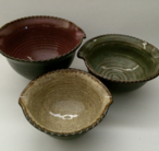 Mixing bowls available in the following sizes: Small - 2 cup - $20 Medium - 3 cup - $25 Large - 4 cup - $30 X-Large - 5 cup - $35 3 Bowl Set - Sm/Md/Lg - $65