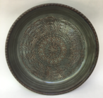 "Platter is 12"" and shown here in Iron Lustre inside with Turtle Shell outside and is available in any glaze."