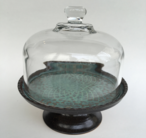 "Dome server shown with vintage dome and 7"" stand in two tones of turquoise and turtle."