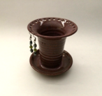 """Earring keeper is 5"""" tall and shown here with plum glaze."""