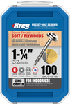 "Kreg Zinc Pocket-Hole Screws 1-1/4"", #8 Coarse, Washer-Head, 100 Count (SML-C125-100)"