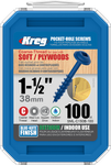 "Kreg Blue-Kote WR Pocket Screws 1-1/2"", #8 Coarse, Washer Head 100 Count (SML-C150B-100)"