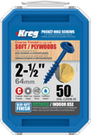 "Kreg Blue-Kote WR Pocket Screws 2-1/2"", #8 Coarse, Washer Head 50 Count (SML-C250B-50)"