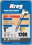 "Kreg Zinc Pocket-Hole Screws 1"", #7 Coarse, Pan-Head, 1200 Count (SPS-C1-1200)"