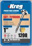 "Kreg Zinc Pocket-Hole Screws  1"", #8 Coarse, Washer-Head, 1200 Count (SML-C1-1200)"