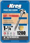 "Kreg Zinc Pocket-Hole Screws 1-1/4"", #8 Coarse, Washer-Head, 1200 Count (SML-C125-1200)"