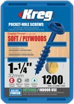 "Kreg Blue-Kote WR Pocket Screws 1-1/4"", #8 Coarse, Washer Head 1200 Count (SML-C125B-1200)"