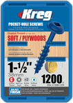 "Kreg Blue-Kote WR Pocket Screws 1-1/2"", #8 Coarse, Washer Head 1200 Count (SML-C150B-1200)"