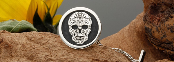 mexican sugar skull sterling silver tip pin hand made