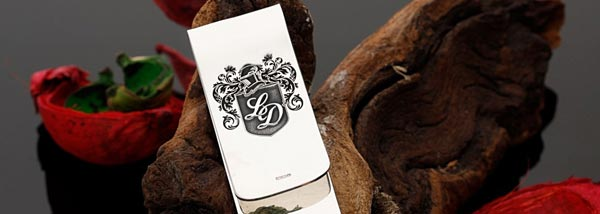 Money Clip Sterling Silver engraved with your own design, family crest, monogram, Scottish Clan